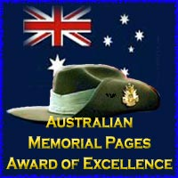 Australia Memorial Pages Award of Excellence March 2001