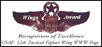 USAF 12th Tactical Fighter Wing Recognition of Excellence